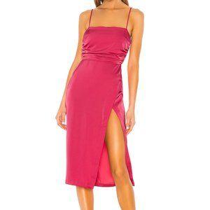 NBD Sage Midi Dress Hot Pink S Ruched Satin